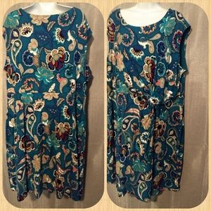 DANA BUCHMAN Teal Floral Knee Lngth Sleeveless